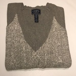💖 CHAPS Woven Style V-Neck Sweater Size XL/TG/EG